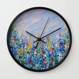 Blue Bells and Cockle Shells, Blue Floral Landscape Wall Clock
