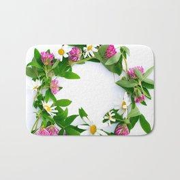 Meadow Flower Garland White Backround #decor #society6 #buyart Bath Mat
