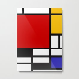 Piet Mondrian - Composition with Red, Yellow, and Blue 1942 Artwork Metal Print