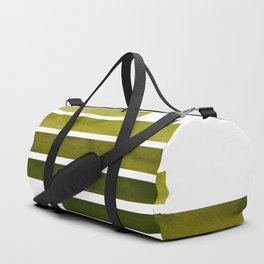 Olive Green Midcentury Modern Minimalist Staggered Stripes Rectangle Geometric Aztec Pattern Waterco Duffle Bag
