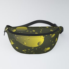 Large yellow drops and petals on a dark background in nacre. Fanny Pack
