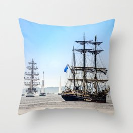 Majestic sailing view, Boston MA Throw Pillow