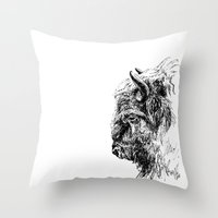 buffalo Throw Pillows featuring Buffalo by Ingrid Restemayer