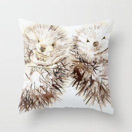 Hedgehog Cuddles Throw Pillow