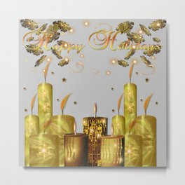 Happy Holidays Golden Snow Flakes and Candles Metal Print