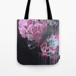 Glitch Pink Hydrangea Tote Bag
