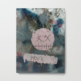 The trashed smile on a urban wall Metal Print