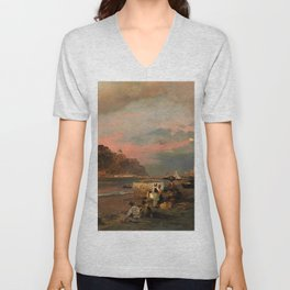 View of Ischia and Maronti Beach with Aragonese Castle by Oswald Achenbach Italian Landscape Unisex V-Neck