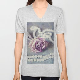 Pearls and Rose Unisex V-Neck