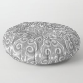 Gray Center Swirl Mandala Floor Pillow