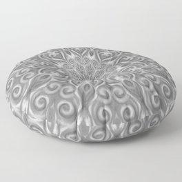 Gray Center Swirl Mandala Floor Pillow