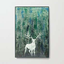 Christmas Stag handpainted for festival Metal Print