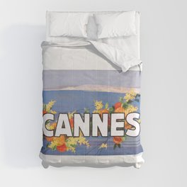 France 1930 Cannes French Riviera Travel Poster Comforters