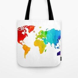 Original Watercolor - Map of The World - Travel Art - Chakra Rainbow Colors Tote Bag