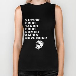 Military Alphabet Veteran With Logo Biker Tank