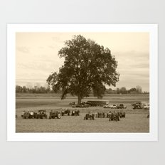 the tractors and the tree Art Print