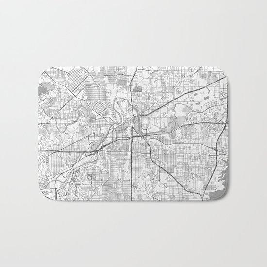 Fort Worth Map Line Bath Mat