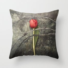 Tulip and barbed wire Throw Pillow