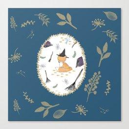 Blue Magical Fox Canvas Print