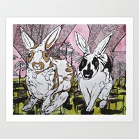 bunny Art Prints featuring Bunny by Dawn Patel Art