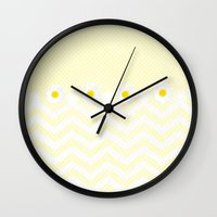daisy Wall Clocks featuring Daisy  by Monika Strigel