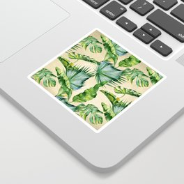 Green Tropics Leaves on Linen Sticker