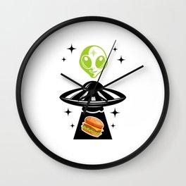 Alien Hamburger Ufo Alien Spaceship Space Wall Clock