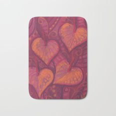 Hearty Flowers, anthurium, funky floral, pink, red & orange Bath Mat