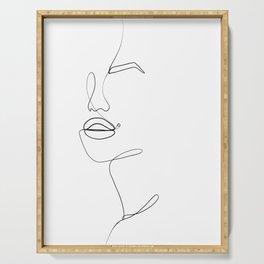 line art beauty mark Serving Tray