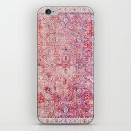 N45 - Pink Vintage Traditional Moroccan Boho & Farmhouse Style Artwork. iPhone Skin