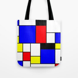 Red Blue Yellow Geometric Squares Tote Bag