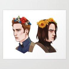 CATWS Steve and Bucky Floral Crowns Art Print