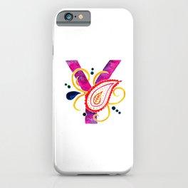 Paisley monogram letter Y iPhone Case