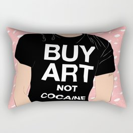 Buy Art, Not Cocaine - Dude with Blue Hair Typography Digital Drawing Rectangular Pillow
