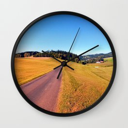 Country road with scenery   landscape photography Wall Clock