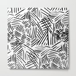 Black White Abstract Linear drawn Lines Pattern Metal Print