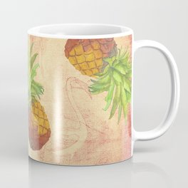Retro Vintage Pineapple with Grunge Animals Background Coffee Mug