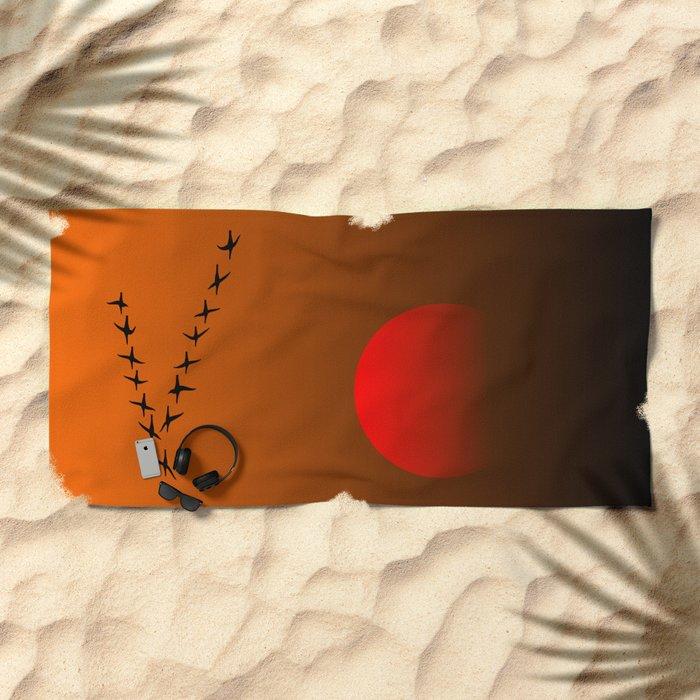 Migratory birds Beach Towel