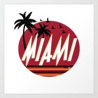 miami Art Prints featuring Miami by FRSHCo.