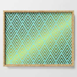 Gold foil triangles on Teal Serving Tray