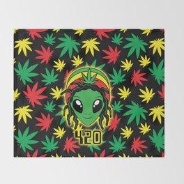 Rasta 420 Alien Throw Blanket