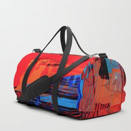 Cells Interlinked - Bold Red and Blue Duffle Bag