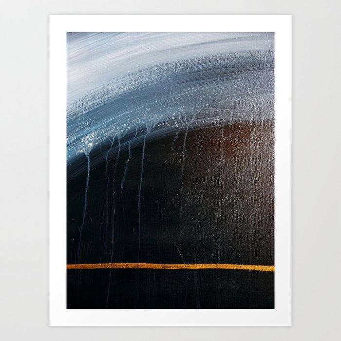 Horizon [2]: a pretty minimal abstract painting in blue and gold by Alyssa Hamilton Art Kunstdrucke