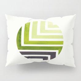 Sap Green Circle Round Framed Mid Century Modern Aztec Geometric Pattern Maze Pillow Sham