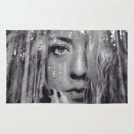 See Yourself - surreal dreamy portrait, woman nature photo, trees forest nature portrait Rug