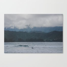 Lone Surfer - Hanalei Bay - Kauai, Hawaii Canvas Print