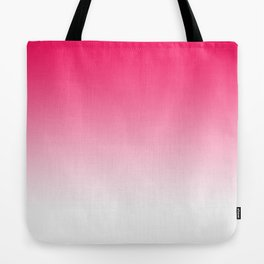 Modern bright simple neon pink white color ombre gradient Tote Bag