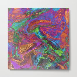 Psychedelic Cosmo Nightmare Glitch Metal Print
