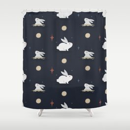 Bunnies on the Moon (Patterns Please) Shower Curtain