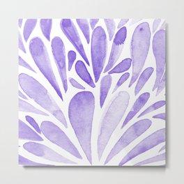 Watercolor artistic drops - lilac Metal Print